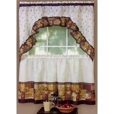 Coffee complete tier and swag set kitchen drape