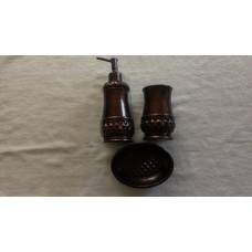Brown 3 pc bath accessory set