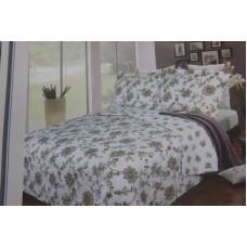 3 piece set: platinum collection  quilt bedding white/sage (Lenore)